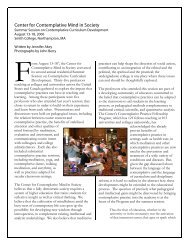 Report on the 2006 Summer Session on Contemplative Curriculum ...