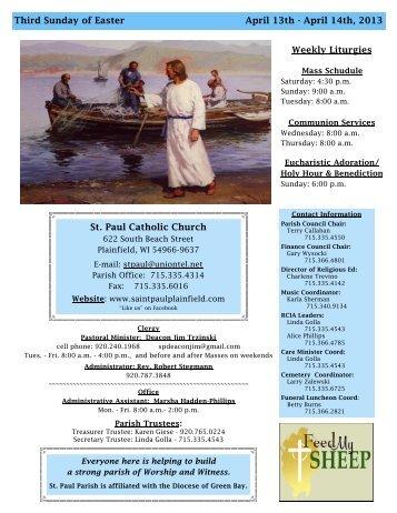 St. Paul Catholic Church Weekly Liturgies Third Sunday of Easter ...