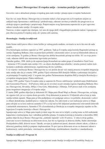Bosna i Hercegovina i Evropska unija – trenutna pozicija i ... - ZZI