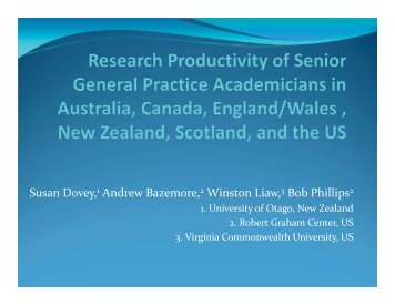 Research Productivity of Senior General Practice Academicians