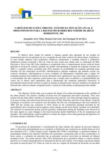 variáveis do clima urbano - Escola de Arquitetura - UFMG