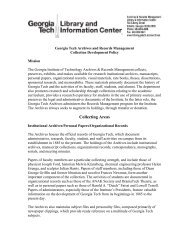 Collection Development Policy - Georgia Tech Library