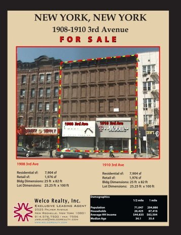 NEW YORK, NEW YORK 1908-1910 3rd Avenue - Welco Realty, Inc