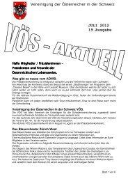 JULI 2012 19.Ausgabe Vereinigung der Österreicher in der Schweiz