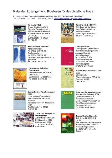 Kalender, Losungen und Bibellesen für das christliche Haus