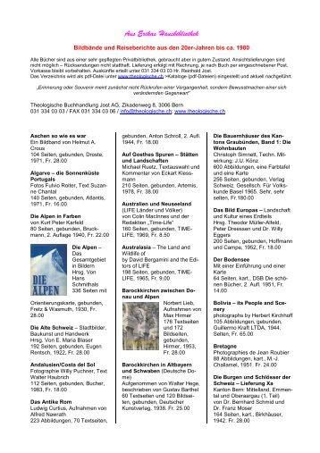 Aus Erikas Hausbibliothek - Theologische Buchhandlung Jost AG