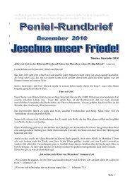 Pniel Internetrundbrief Dezember Schweiz 2010 - Freunde des ...