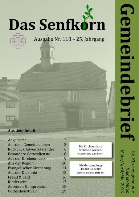 Gemeindebrief 2013-2 - Evangelische Kirchengemeinde Nieder-Moos