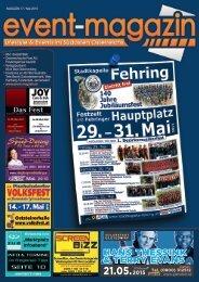 Event-Magazin mit Regional-Tipp   Ausgabe 17.   Mai 2015