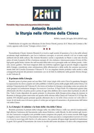 Antonio Rosmini: la liturgia nella riforma della Chiesa * * *