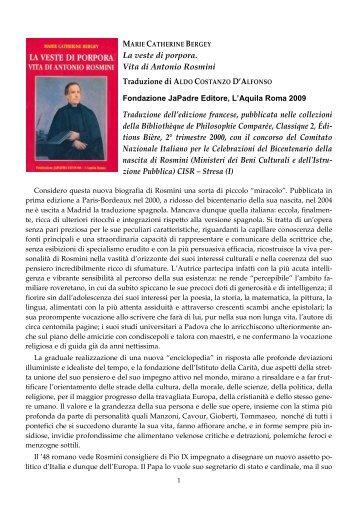 La veste di porpora – Vita di Antonio Rosmini