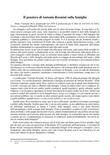 Il pensiero di Antonio Rosmini sulla famiglia - Centro Internazionale ...