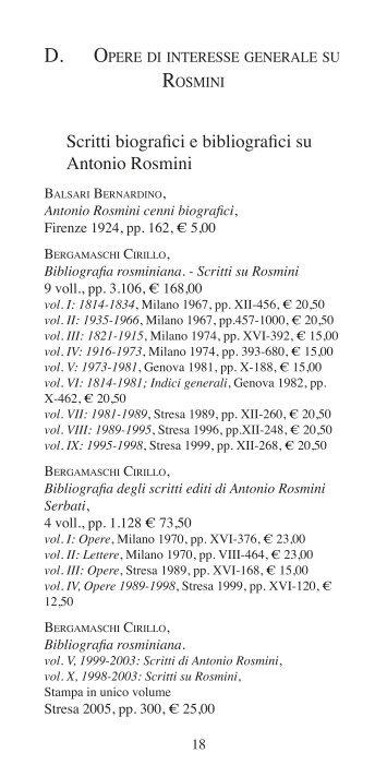 Scritti biografici e bibliografici su Antonio Rosmini