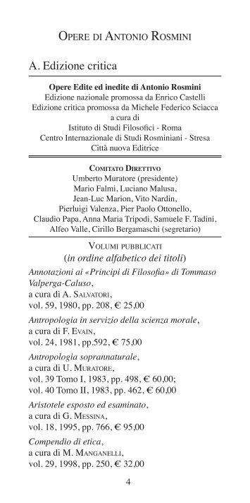 Edizione Critica delle opere di Antonio Rosmini - Centro ...