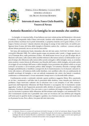 Antonio Rosmini e la famiglia in un mondo che cambia - Centro ...
