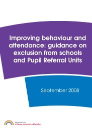 Improving behaviour and attendance: guidance on exclusion from ...