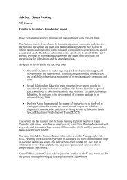 Advisory Group Meeting - Leeds Parent Partnership Service