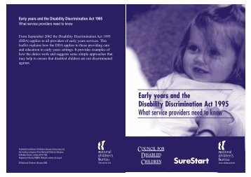 Early years and the Disability Discrimination Act 1995 What service ...