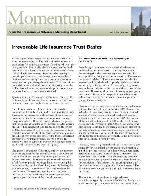 Irrevocable Life Insurance Basics Trust Momentum Transamerica