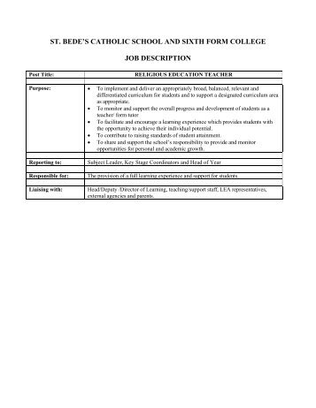 st. bede's catholic school and sixth form college job description