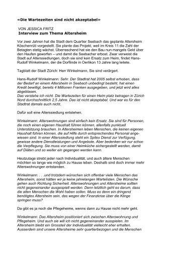 «Die Wartezeiten sind nicht akzeptabel» VON ... - Altersarbeit.ch
