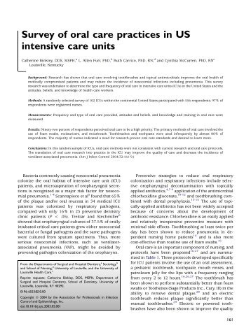 Survey of oral care practices in US intensive care units - Oral Health ...