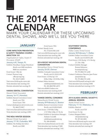 THE 2014 MEETINGS CALENDAR - DentistryIQ