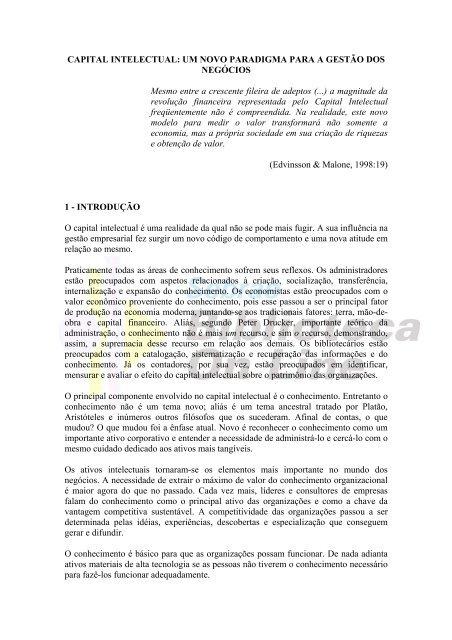 CAPITAL INTELECTUAL: UM NOVO PARADIGMA PARA A ...