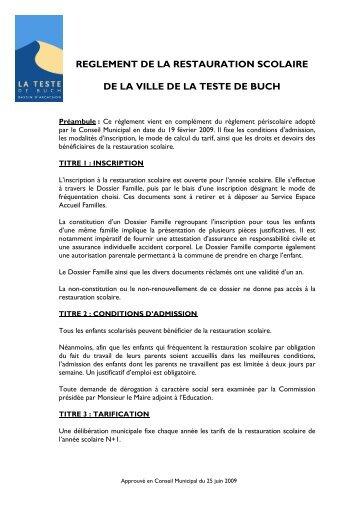 REGLEMENT DE LA RESTAURATION ... - La Teste de Buch