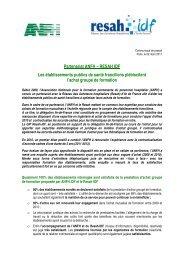 Partenariat ANFH – RESAH IDF Les établissements publics de ...