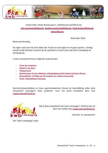FALOS VZW, Urbain Britsierslaan 5, 1030 Brussel, 02 ... - KWB Larum