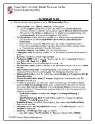 Job Aid 36: Promotional Items - TTUHSC :: Finance & Administration