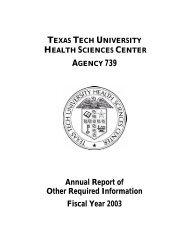 ARORI Schedules FY 2003 - Texas Tech University Health Sciences ...