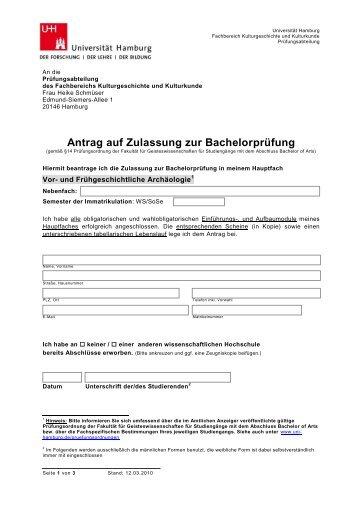 Antrag auf Zulassung zur Bachelorarbeit - Fachbereich ...