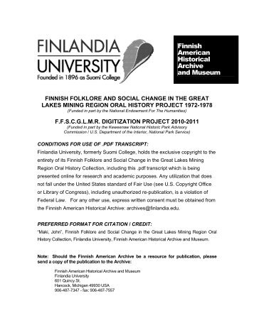 Finnish American Historical Archive and Museum - Kentsgenealogy ...