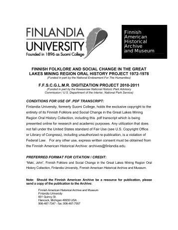 Finnish American Archive And Museum - Kentsgenealogy.com