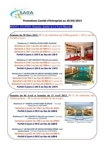 Semaine du 30 Mars 2013 - SARA Résidences de Tourisme