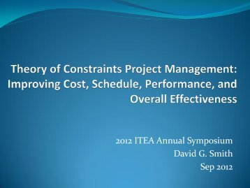 Theory of Constraints Project Management - International Test and ...