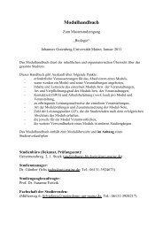 Modulhandbuch - Fachbereich Biologie - Johannes Gutenberg ...