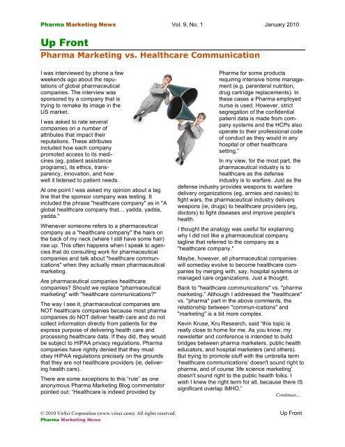 Up Front - Pharma Marketing News