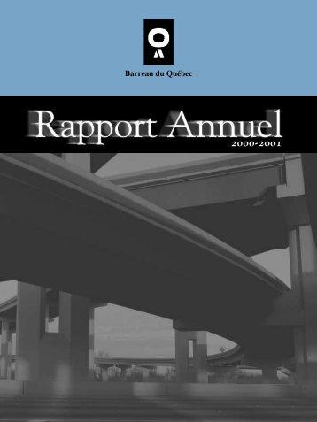 Rapport Annuel 2000-2001 - Barreau du Québec