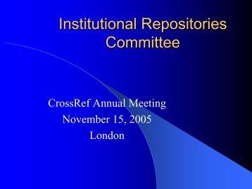 Institutional Repositories Committee - CrossRef