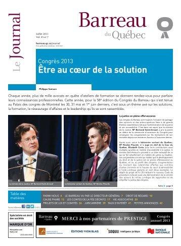 Journal du Barreau - Volume 45, numéro 7 - Juillet 2013