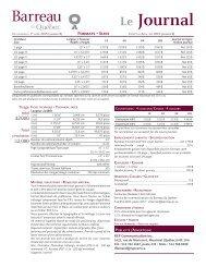 Carte des tarifs et fiche technique générale - Barreau du Québec