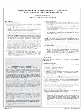 Règlement modifiant le Règlement sur la comptabilité et les ...