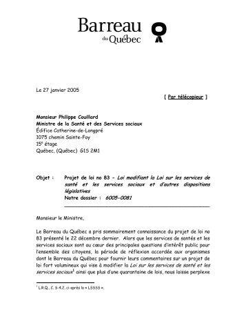 Lettre (92 Ko) - Barreau du Québec