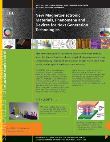 Johns Hopkins University - Materials Research Science and ...