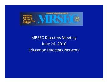 report on December BP meeting, Ed. Assessment, JAM, MRSEC kits