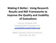 Making It Better: Using Research Results and NSF Frameworks to ...