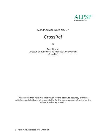 ALPSP Advice Note 37.pdf - CrossRef